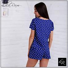 Женская синяя хлопковая пижама с сердечками