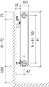 Радиатор PURMO Compact 11 500x1200 боковое подключение, фото 4