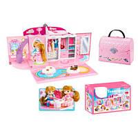 Домик-чемодан QL051, гардероб, 26см, кукла 11см, фигурка, в кор-ке, 47-32-13см
