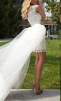 Легкое свадебное короткое платье трансформер со съемной юбкой  СВ-102