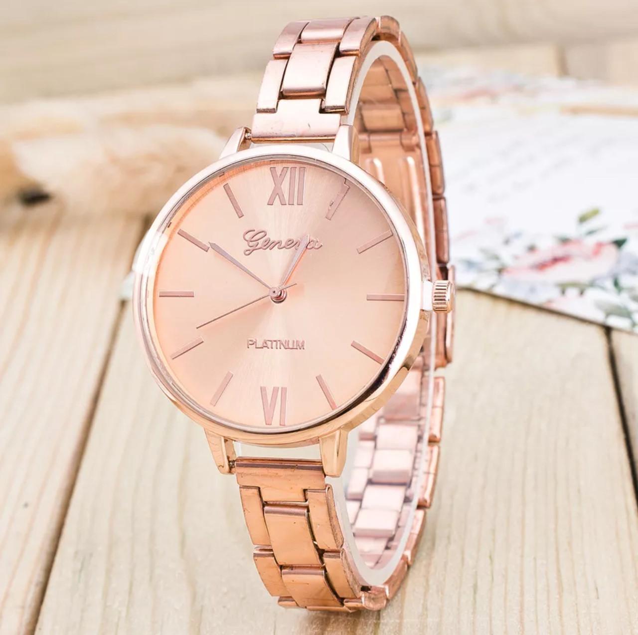 Женские наручные часы с металлическим браслетом «Geneva» (rose gold)
