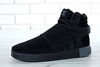 Зимние мужские кроссовки Adidas Tubular Invader Strap реплика ААА+ (нат. замша с мехом) р. 41-45(живые фото)