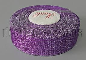 Лента фиолетовая+серебро  2,5 см 25ярд