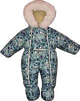 """Зимний комбинезон на выписку """"Снеговички"""" для новорожденных 0-6 месяцев. Бирюзовый."""