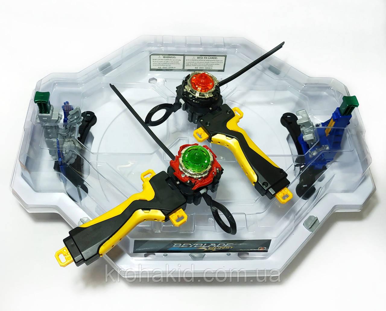 Игровой набор из 2-х волчков BeyBlade с ареной и крышкой c механическими ловушками-роботами TD999