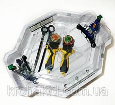 Игровой набор из 2-х волчков BeyBlade с ареной и крышкой c механическими ловушками-роботами TD999, фото 2