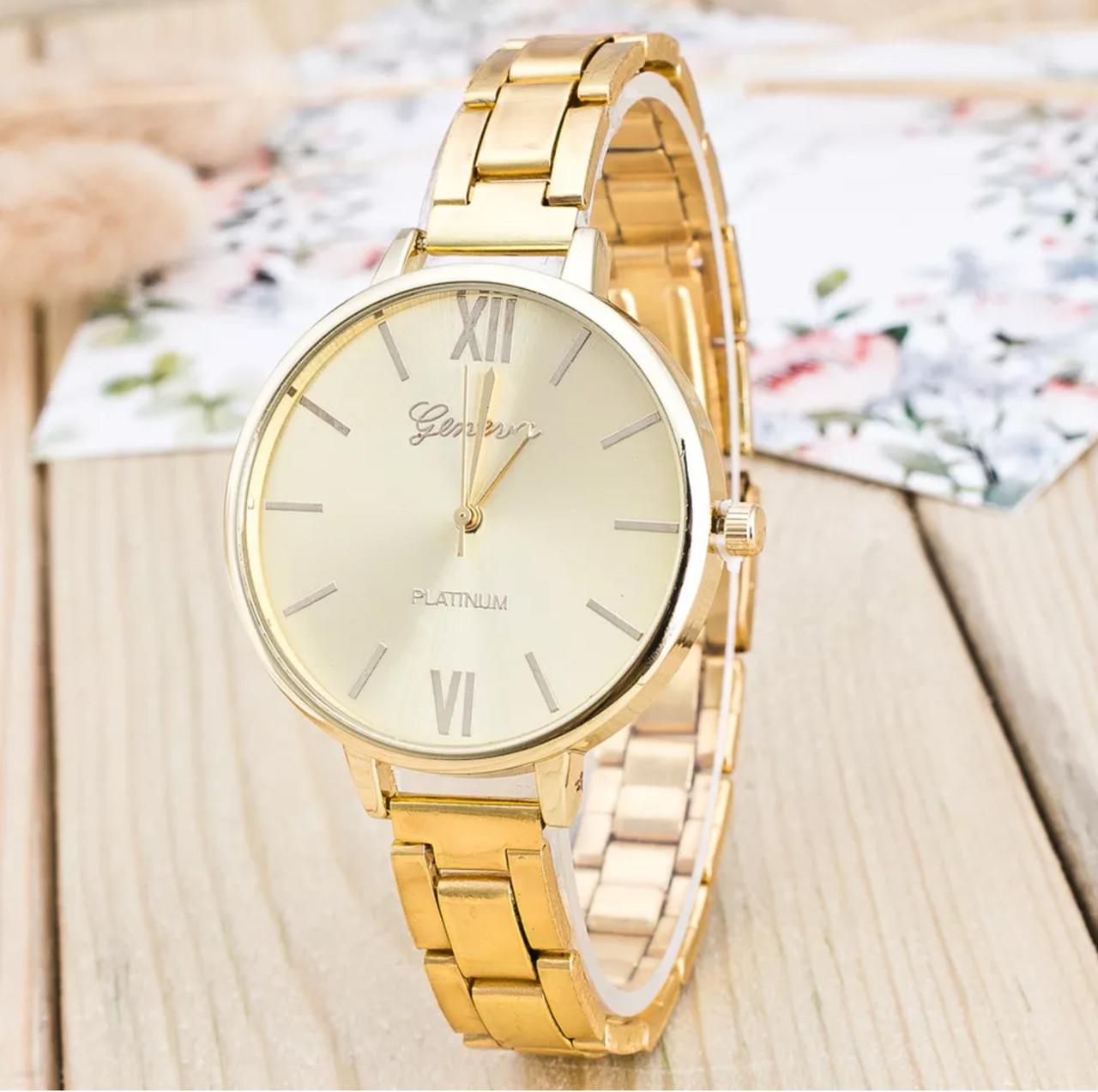 Женские модные классические наручные часы «Geneva» (gold)