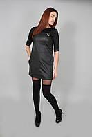 Платье женское из эко-кожи черное (Сукня жіноча з еко-шкіри чорне)
