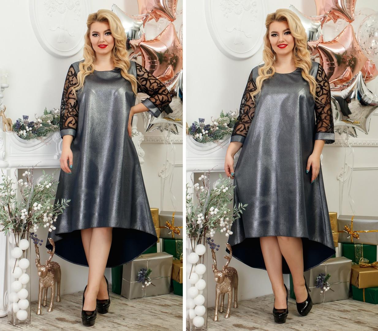 Платье асимметрия большие размеры с напыление,нарядное.