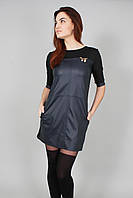 Платье женское из эко-кожи темно-синее (Сукня жіноча з еко-шкіри темно-синя)
