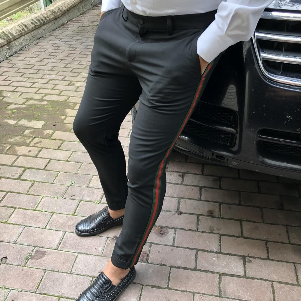 Gucci Cotton 60s Pant with Web Black