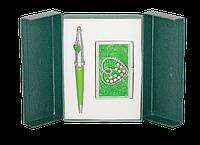 Набор подарочный Crystal Heart ручка шариковая и визитница  зеленый