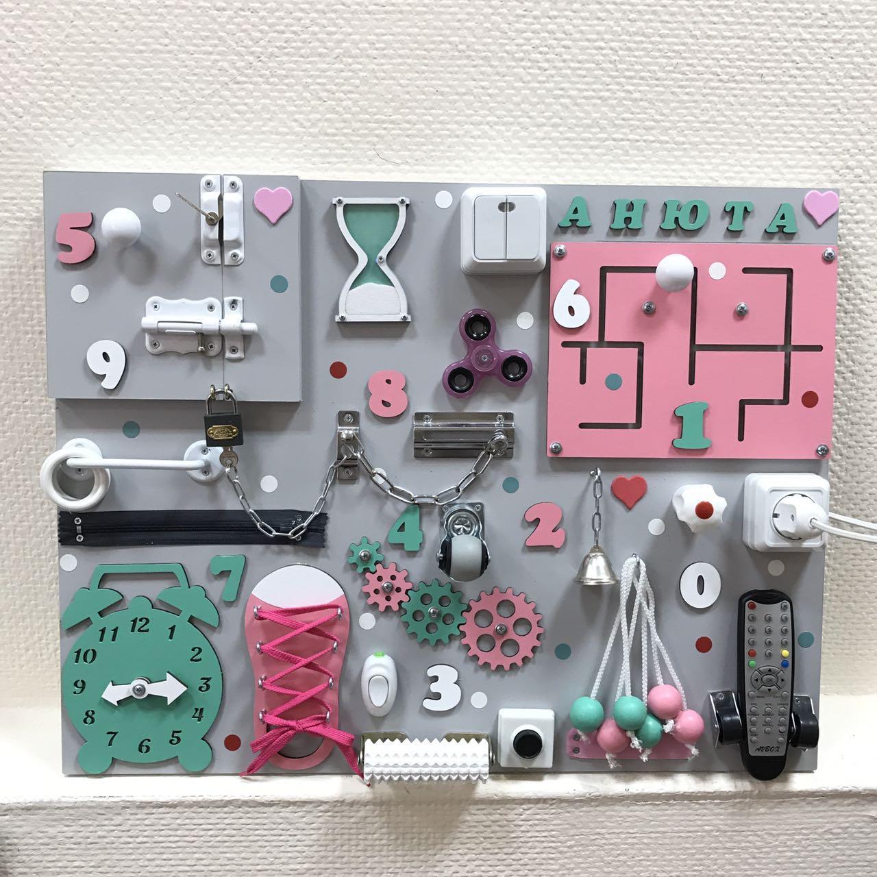 Бизиборд для девочки с часами и телефоном 50*65 см