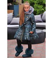 """Пальто для девочки """"Мира"""", на синтепоне, с капюшоном, подкладка флис, размер 146."""