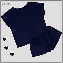 Женская пижама синего  цвета из шелка