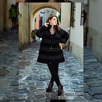 Зимнее пальто -шубка больших размеров 48 - 68 рр черный
