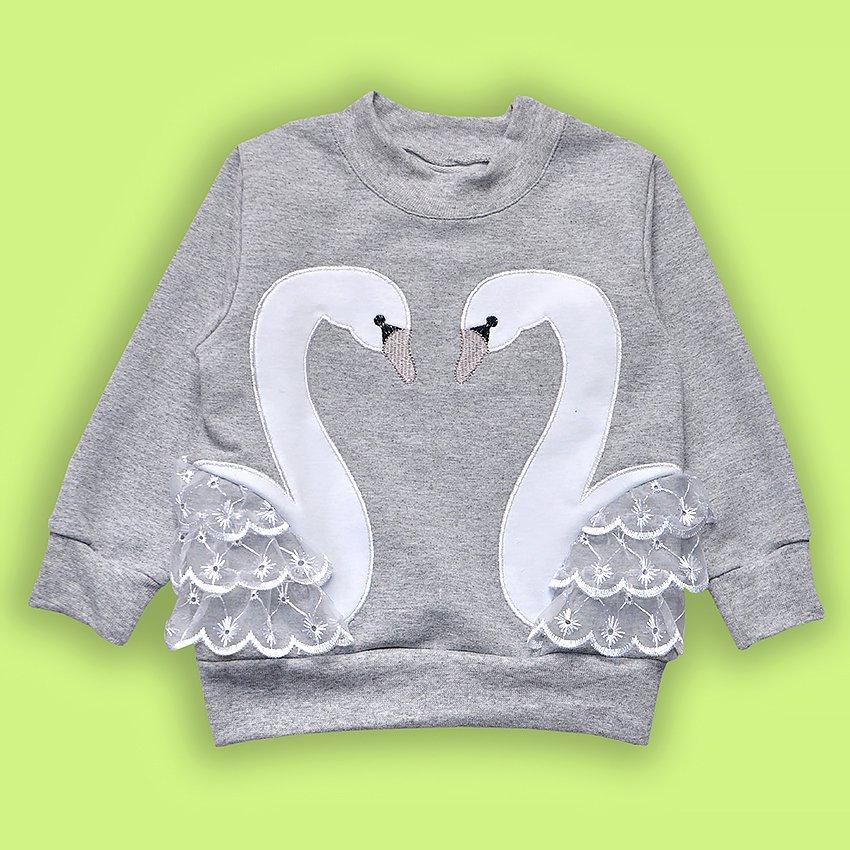 Джемпер на девочку Лебеди (80 см) Двунитка