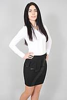 Юбка женская черная с эко-кожей черная(Спідниця жіноча коротка з еко-шкірою чорна), фото 1