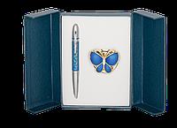 Набор подарочный Papillon ручка шариковая и крючок для сумки синий