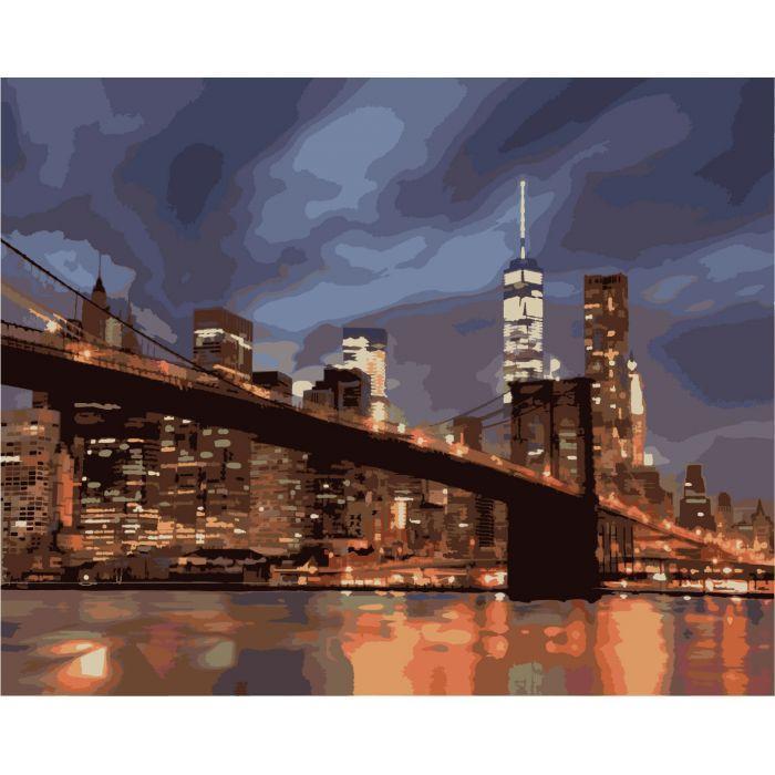 """Картина по номерам. Городской пейзаж """"Ночной Нью Йорк"""" 40х50см KHO2133"""