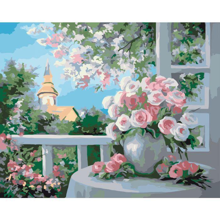 """Картина по номерам. Сельский пейзаж """"Шарм цветущего сада"""" 40*50см KHO2204"""