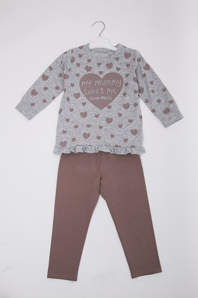 f2b02942641e4 Детская пижама для девочки Сердечки светло-серая - Интернет-магазин  Buyself.com.