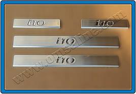 Накладки на пороги OmsaLine (4 шт, нерж.) - Hyundai I-10 2010-2013 гг.