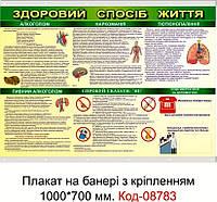 """Плакат на банері з направляючими """"Здоровий спосіб життя"""" Код-08783"""