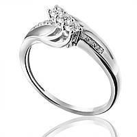 """Золотое кольцо с бриллиантами """"Блестящее впечатление"""", белое золото, КД7459/1 Eurogold"""
