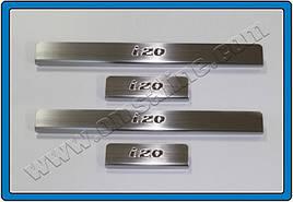 Накладки на пороги OmsaLine (4шт, нерж.) - Hyundai IX-20 2010+ гг.