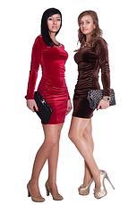 Короткое яркое элегантное вечернее платье из эластичного бархата.  , фото 3