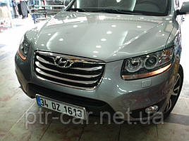 Накладка на решітку (2010-2012, 4 шт, нерж.) - Hyundai Santa Fe 2 2006-2012 рр ..
