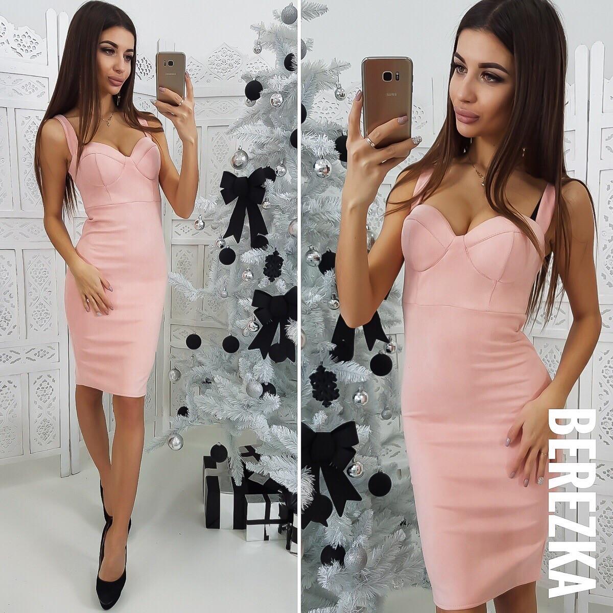 8773a34b77c Купить Замшевое облегающее платье на бретельках 66032085 недорого в ...