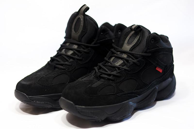 Кроссовки адидас мужские зимние черные с мехом повседневные (реплика) Adidas Primaloft Black Winter
