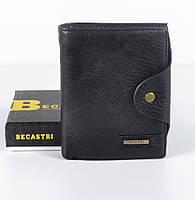 Черный небольшой мужской кожаный кошелек