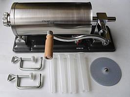 Шприц на 4 кг, для наполнения колбас дома и в цеху, из нержавеющей стали, горизонтальный, 45*13 см, 4 насадки