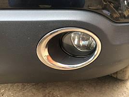 Накладки на противотуманки обводка (2 шт, нерж.) - Nissan Qashqai 2007-2014 гг.