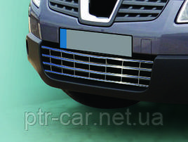 Решётка в бампер (нерж.) - Nissan Qashqai 2007-2014 гг.