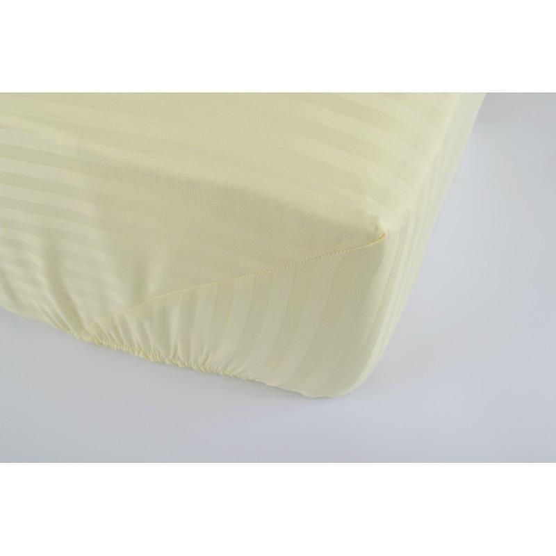 Простынь Lotus Отель - Сатин Страйп 1*1 ваниль Турция 180*200*25 на резинке