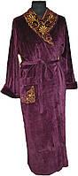 Халат  велюровый длинный с вышитым воротником вишневый 56 размер