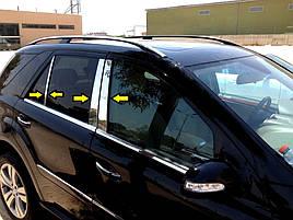 Молдинг дверных стоек (6 шт, нерж) - Mercedes ML klass W164