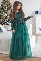 Нарядное изумрудное женское платье Маркиза вышитое паетками и покрытое евро сеткой. Арт-7499/7, фото 1