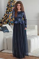 Нарядное темно-синее женское платье Маркиза вышитое паетками и покрытое евро сеткой. Арт-7499/7, фото 1