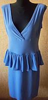 Женское светло - голубое красивое платье с баской