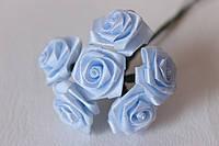 Розочки атласные 2 см 6 шт/уп.нежно-голубого цвета на ножке, фото 1