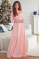 Нежно-розовое женское платье Магнолия декорировано гипюром. Арт-7500/7, фото 1