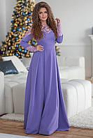 Красивое вечернее длинное женское платье с длинным рукавом декорировано гипюром р.42-44. Арт-4301/7, фото 1