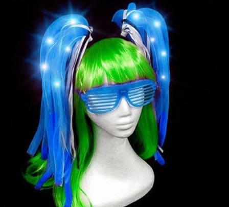 Светодиодный обруч, волосы 50см для ночных мероприятий! Синий, фото 2