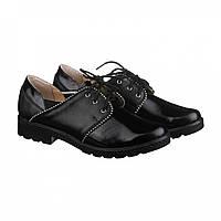 Кожаные классические туфли чёрного цвета на шнуровке, фото 1
