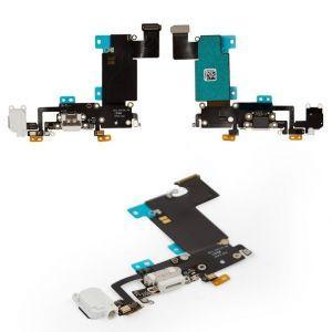 Шлейф для iPhone 6S Plus, с разъёмом зарядки, коннектором наушников и микрофоном белый
